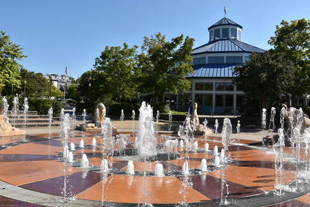 Interactive fountain at Coolidge Park in Chattanooga, Tennessee Stock Photo