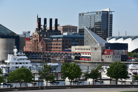 View of Inner Harbor, from Federal Hill Park, in Baltimore, Maryland