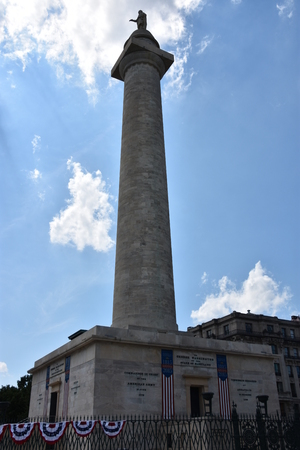 Washington Monument at Mount Vernon Place in Baltimore, Maryland Editorial