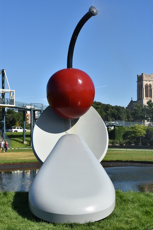 The Spoonbridge and Cherry at the Minneapolis Sculpture Garden in Minnesota Editorial