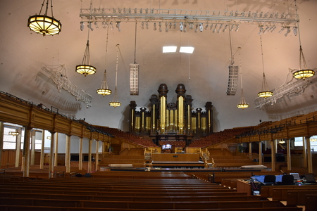 Mormon Tabernacle at Temple Square in Salt Lake City, Utah Editorial