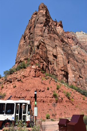 Shuttle at Zion National Park in Utah Editorial
