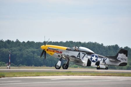 CHICOPEE, MA - JUL 14: P-51 Mustang at the 2018 Great New England Airshow at Westover Air Reserve Base in Chicopee, Massachusetts, as seen on July 14, 2018.