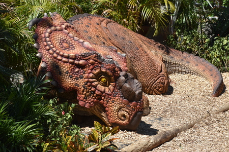 BOSTON, MA - JUN 16: Destination Dino at Franklin Park Zoo in Boston, Massachusetts, as seen on Jun 16, 2018. This was a limited time exhibit featuring more than a dozen moving, roaring, life-sized dinosaurs. Editorial