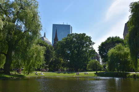 Public Garden in Boston, Massachusetts Stock Photo