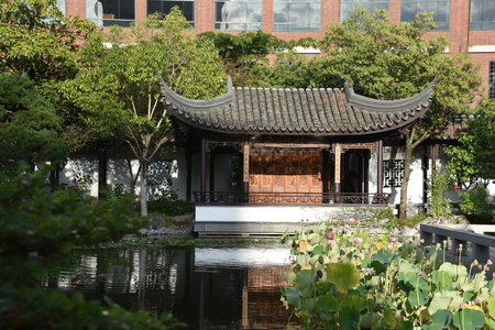 Lan Su Chinese Garden in Chinatown in Portland, Oregon Banco de Imagens