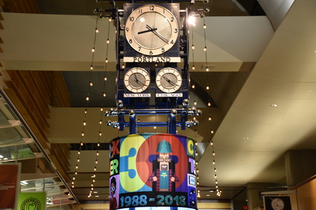 Clocktower Plaza celebrated 30 years at Portland International Airport in Oregon, as seen on Aug 25, 2018