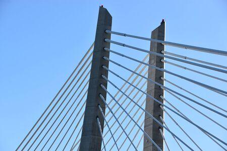 PORTLAND, OREGON - JUN 11: Tilikum Crossing Bridge in Portland, Oregon, as seen on Jun 11, 2019. It is a cable-stayed bridge across the Willamette River.