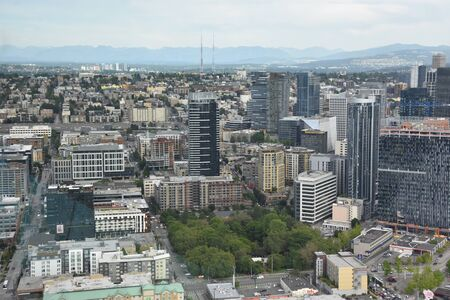 SEATTLE, WA - JUN 12: Aerial View of Seattle from the Observation Deck at the Space Needle in Seattle, Washington, as seen on Jun 12, 2019.