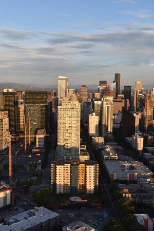 SEATTLE, WA - JUN 12: Aerial View of Seattle from the Observation Deck at the Space Needle in Seattle, Washington, as seen on Jun 12, 2019. Stock Photo