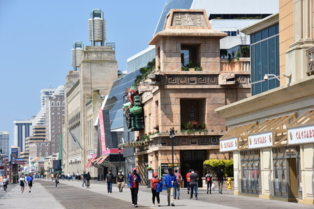 ATLANTIC CITY, NJ - MAY 19: Atlantic City Boardwalk in New Jersey, as seen on May 19, 2019. Atlantic City is a resort city in the northeast known for its casinos, boardwalk and beach.