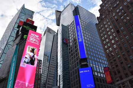 NEW YORK, NY - SEP 7: Times Square, featured with Broadway Theaters and animated LED signs, in Manhattan, as seen on Sep 7, 2019. It is a symbol of New York City and the United States.