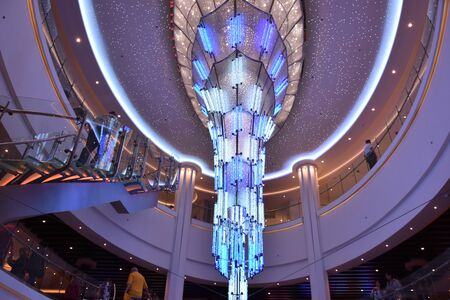 LONG BEACH, CALIFORNIA - OCT 20: Crystal chandelier on the Norwegian Bliss cruise ship, docked in Long Beach, California, on Oct 20, 2018. The ship entered service on April 21, 2018.