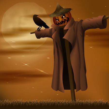 Halloween night evil scarecrow Ilustração