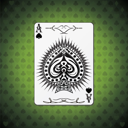 ace: Ace of spades poker card green background