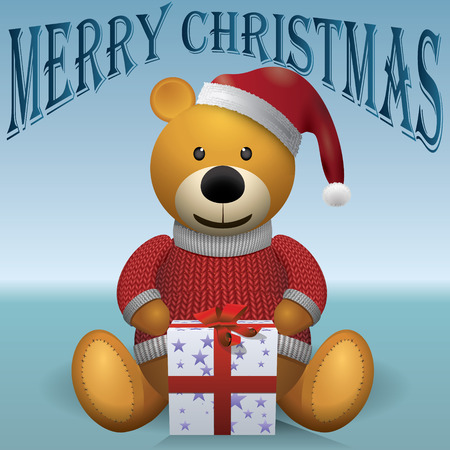 merrychristmas: Teddy bear brown, red sweater, red hat, present MerryChristmas
