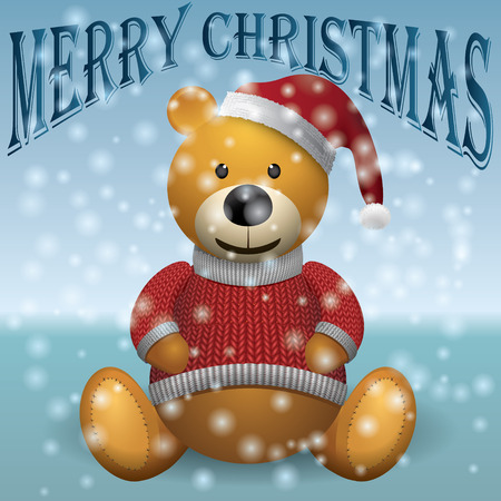 merrychristmas: Teddy bear brown, red sweater, red hat, snow, MerryChristmas