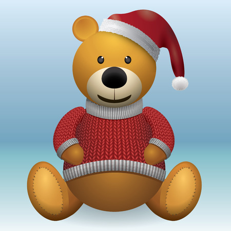 Teddy bear brown in red sweater and red hat