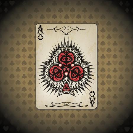 Ace of clubs poker card old look bege background Ilustração