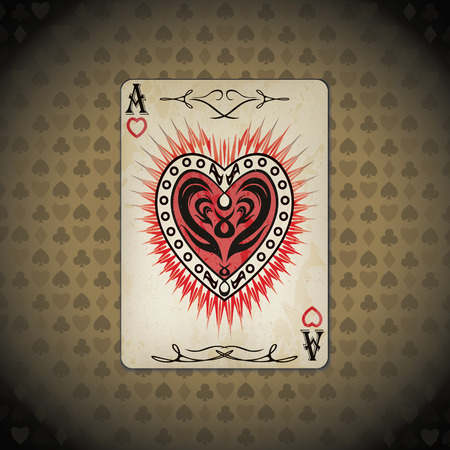 varnished: Ace of hearts poker card old look