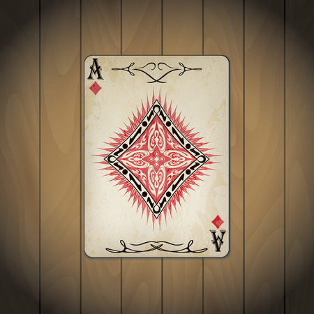 varnished: Ace of diamonds poker card old look wood background