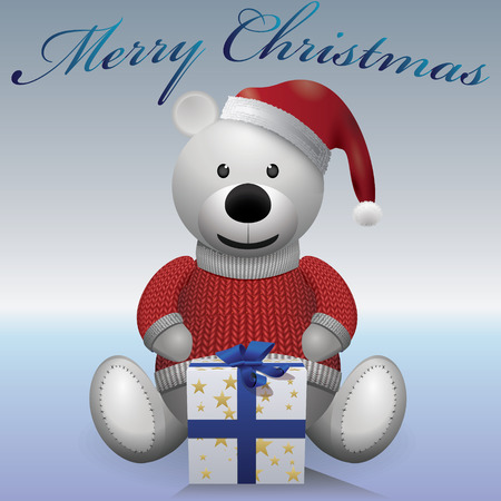 merrychristmas: Teddy bear white in sweater hat with present MerryChristmas