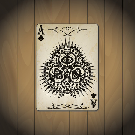 varnished: Ace of clubs poker card old look wood background