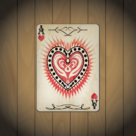 varnished: Ace of hearts poker card old look wood background