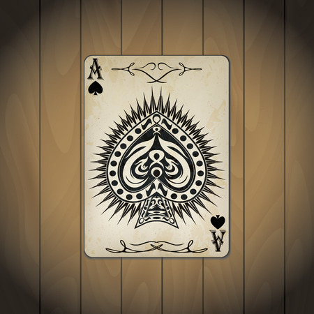 ace: Ace of spades poker card old look wood background