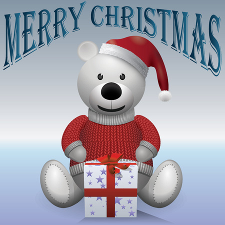 merrychristmas: Teddy bear white red sweater red hat with present MerryChristmas Illustration
