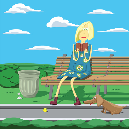 Cartoon girl in park sitting on the bench beside trashcan reading a book Vector