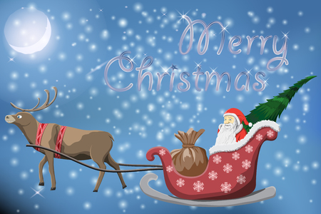 Merry Christmas post card with flying Santa Claus and deers night snow Background Vector