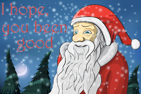 Merry Christmas moon snow Santa Claus Text I hope you been good Vector