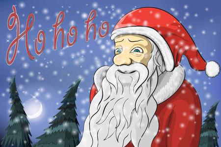 ho: Merry Christmas moon snow Santa Claus Text ho ho ho