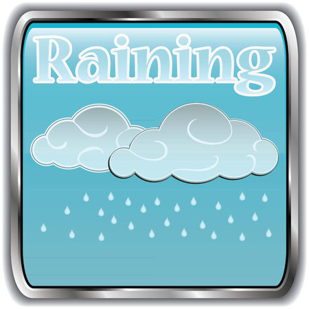 raining: Day weather icon with text raining.