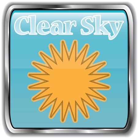 clear sky: Day weather icon with text clear sky.