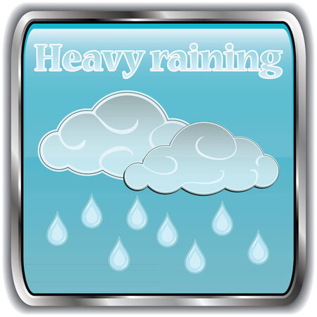 raining: Day weather icon with text havy raining.