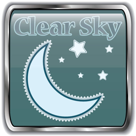 clear sky: Night weather icon with text clear sky.