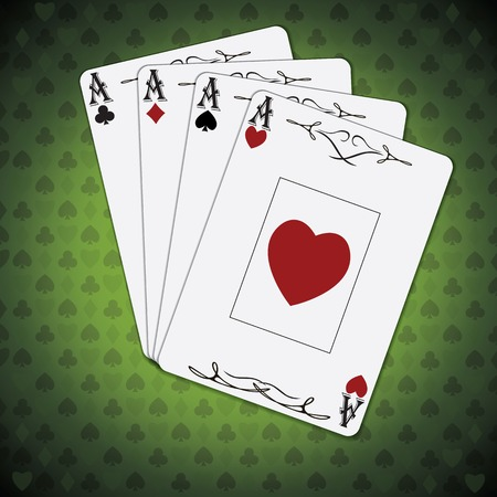 varnished: Ace of spades, ace of hearts, ace of diamonds, ace of clubs poker cards set green background