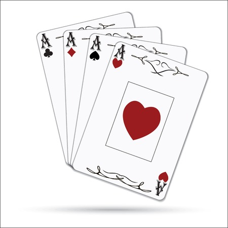 varnished: Ace of spades, ace of hearts, ace of diamonds, ace of clubs poker cards set isolated on white background