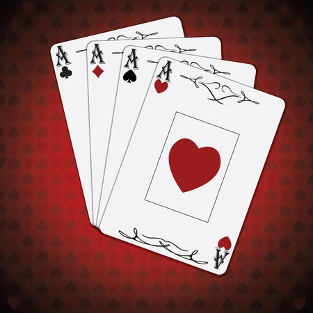 ace: Ace of spades, ace of hearts, ace of diamonds, ace of clubs poker cards set red white background