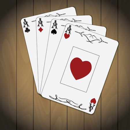 ace: Ace of spades, ace of hearts, ace of diamonds, ace of clubs poker cards set varnished wood background