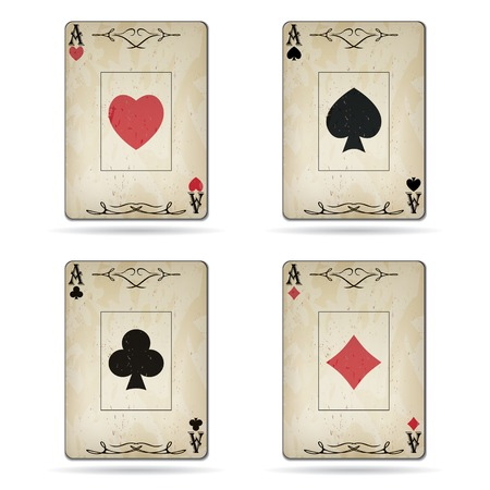 Ace of spades, ace of hearts, ace of diamonds, ace of clubs poker cards set old look isolated on white background Illustration