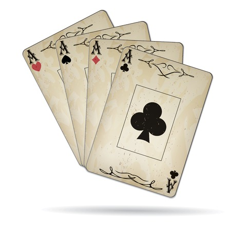 varnished: Ace of spades, ace of hearts, ace of diamonds, ace of clubs poker cards set old look