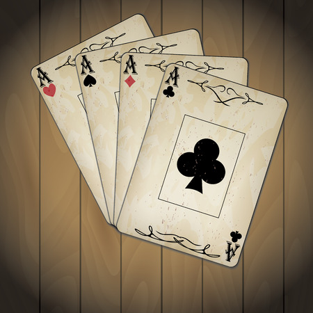 varnished: Ace of spades, ace of hearts, ace of diamonds, ace of clubs poker cards set old look varnished wood background Illustration