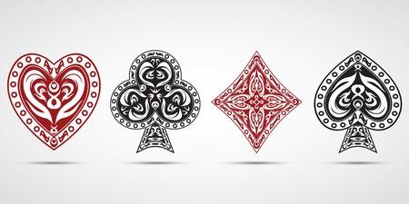 schoppen, harten, ruiten, klaveren pokerkaarten symbolen set grijze achtergrond Stock Illustratie