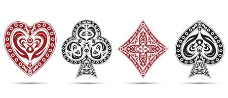 varnished: spades, hearts, diamonds, clubs poker cards symbols set isolated on white background