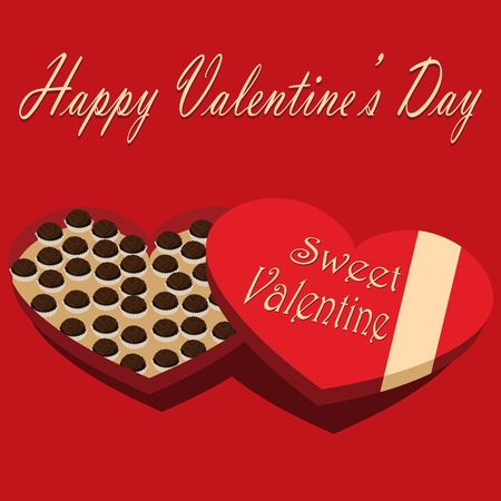 candy box: Valentines Day box of chocolate candy white background