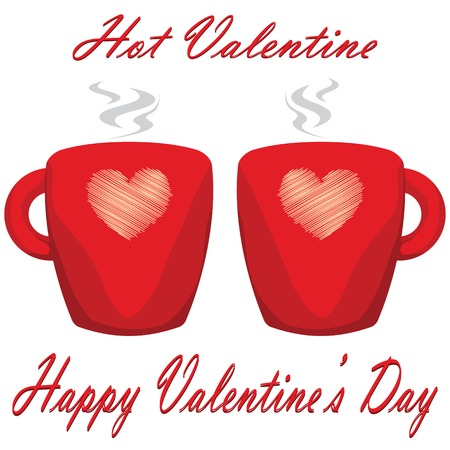 hot couple: valentine day couple of cups white background Hot Valentine.