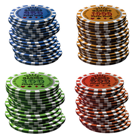 wager: Poker chips column set isolated on white background.